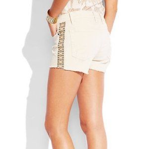 LUCKY Malibu Ivory Ribbon-Seam Cutoff Shorts